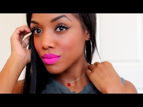 Airbrush Makeup Look with Bold Lips